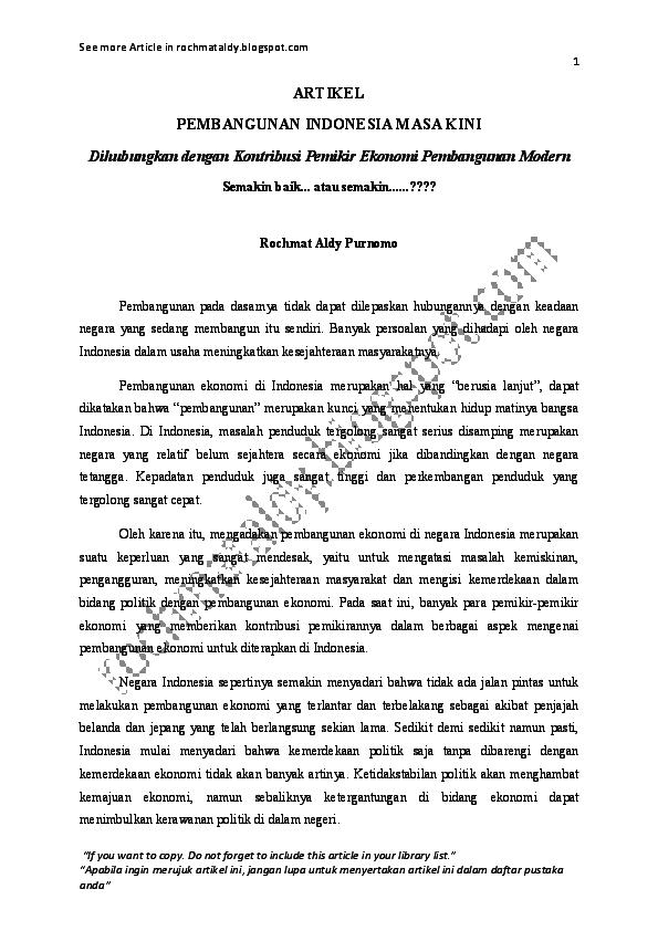 Artikel Pembangunan Indonesia Rochmat Aldy Academia Edu