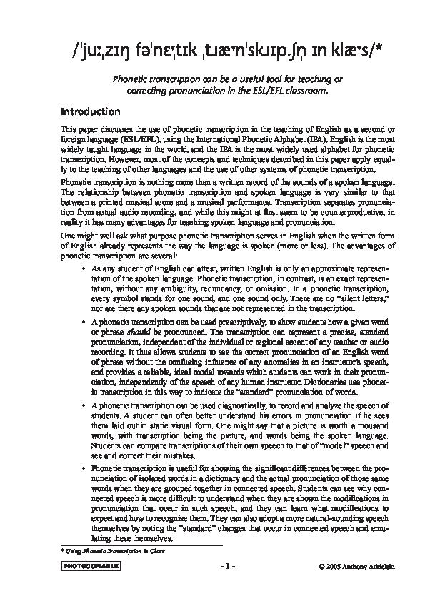 PDF) Phonetics Using Phonetic Transcription in Class