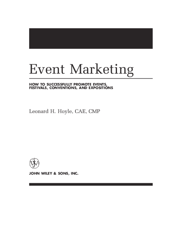 PDF) Event Marketing HOW TO SUCCESSFULLY PROMOTE EVENTS