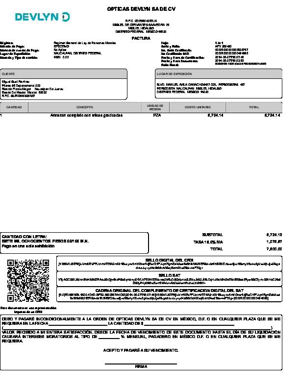 pdf  opticas devlyn sa de cv cadena original del
