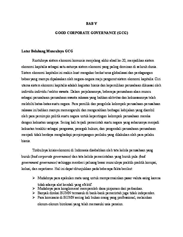 Doc Bab V Good Corporate Governance Gcg Krisna Linardi Academia Edu