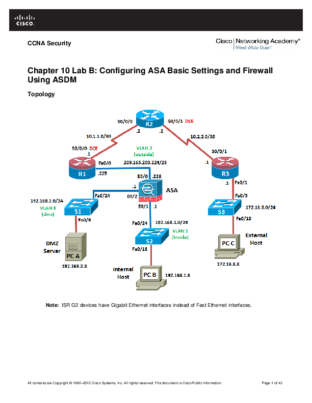 PDF) All Chapter 10 Lab B: Configuring ASA Basic Settings