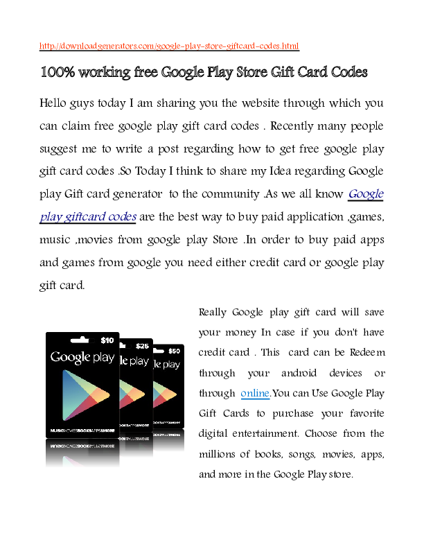 PDF) How To Get free Google Play Gift card Codes
