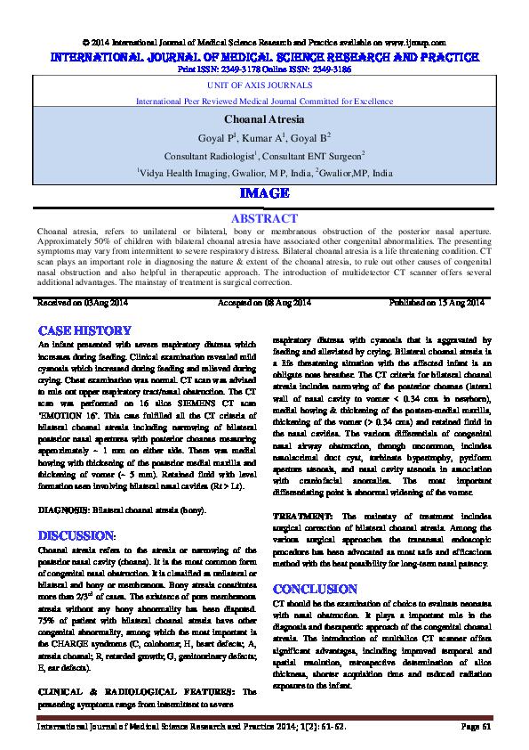 PDF) Choanal atresia | International Journal of Medical