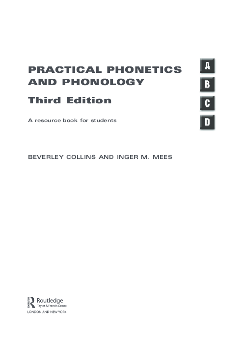 English Phonetics And Phonology A Practical Course Pdf