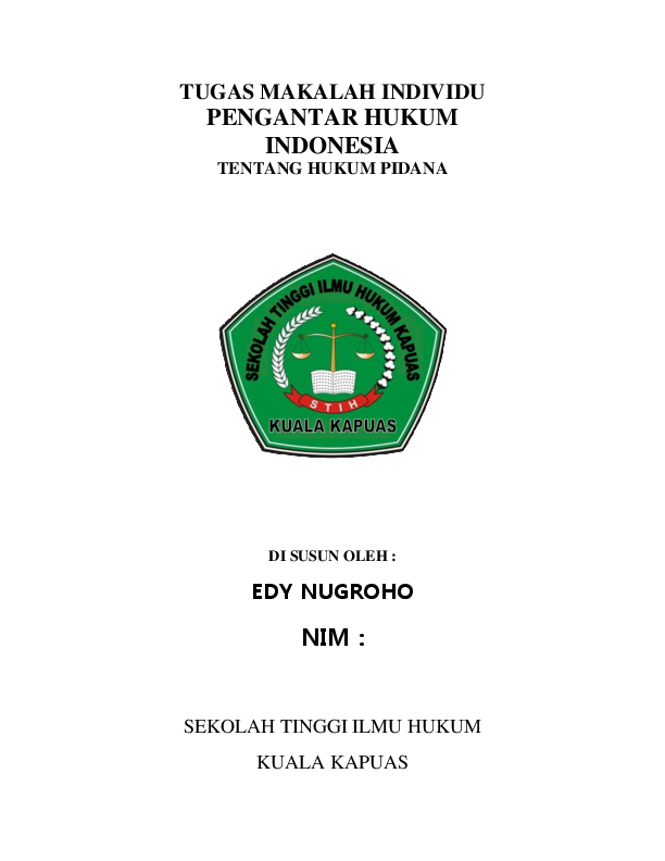 Doc Tugas Makalah Individu Pengantar Hukum Indonesia Tentang Hukum Pidana Amie Law Academia Edu