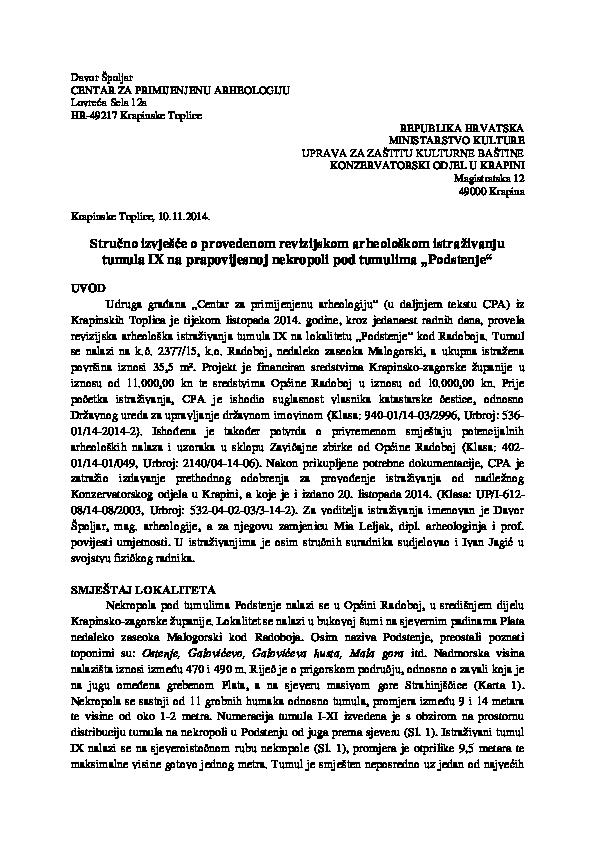 Dok za E nema dodatnih informacija, uzorak I datiran je u razdoblje.