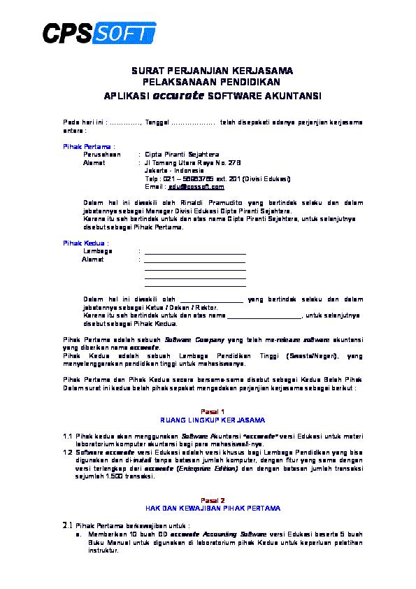 Doc Surat Perjanjian Kerjasama Pelaksanaan Pendidikan