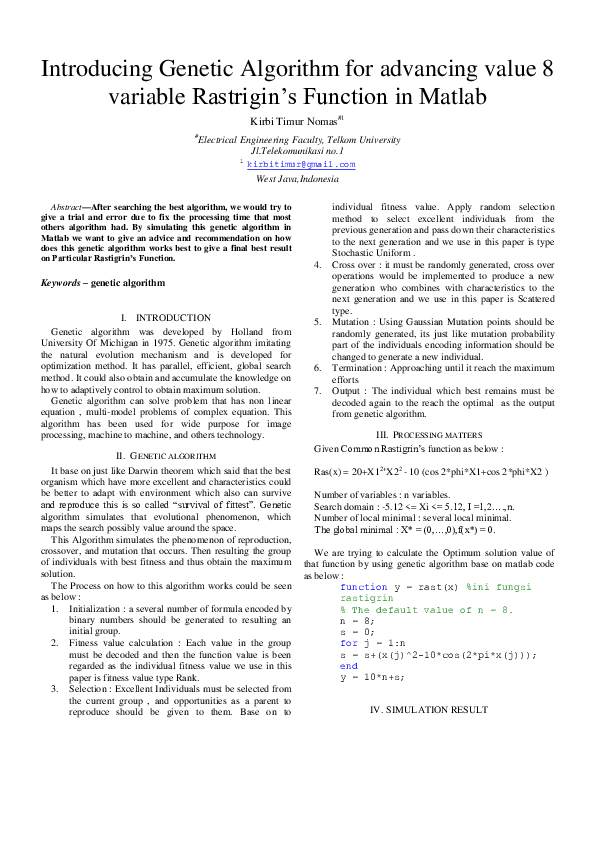 PDF) Introducing Genetic Algorithm for advancing value 8