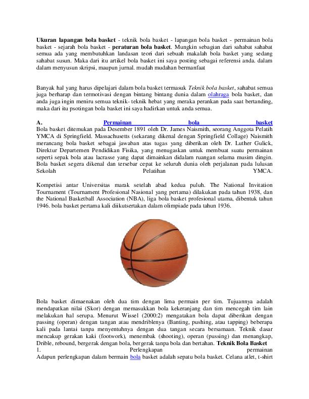 Doc Ukuran Lapangan Bola Basket Wira Indehoy Academia Edu