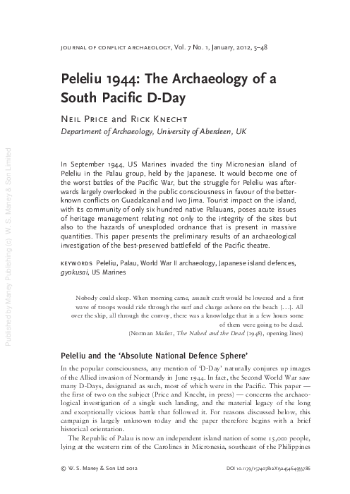 Pdf Peleliu 1944 The Archaeology Of A South Pacific D Day Rick Knecht Academia Edu