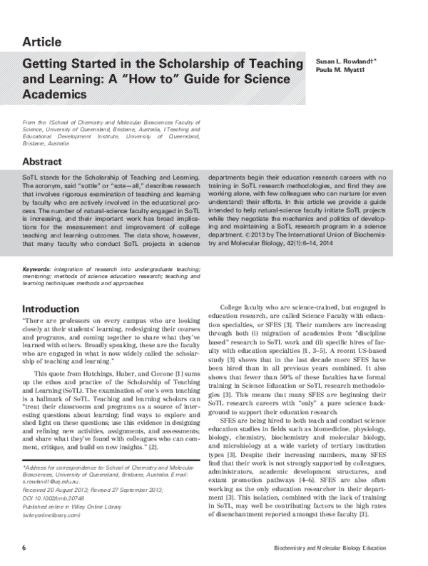 PDF) Getting Started in the Scholarship of Teaching and Learning: A