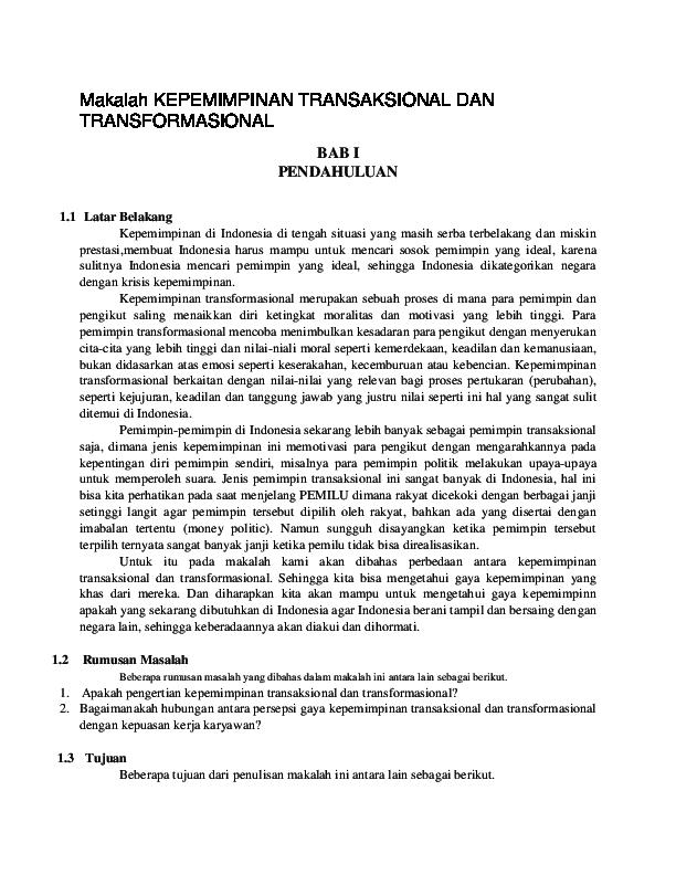 Doc Makalah Kepemimpinan Transaksional Dan Transformasional Nur Fadeliah Mubakkirah Academia Edu