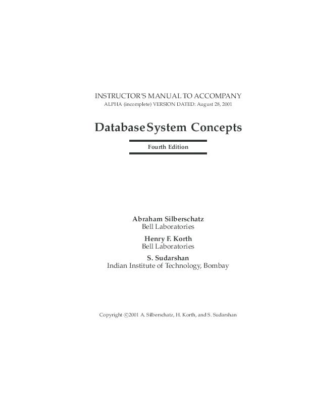 Silberschatz Database System Concepts Pdf