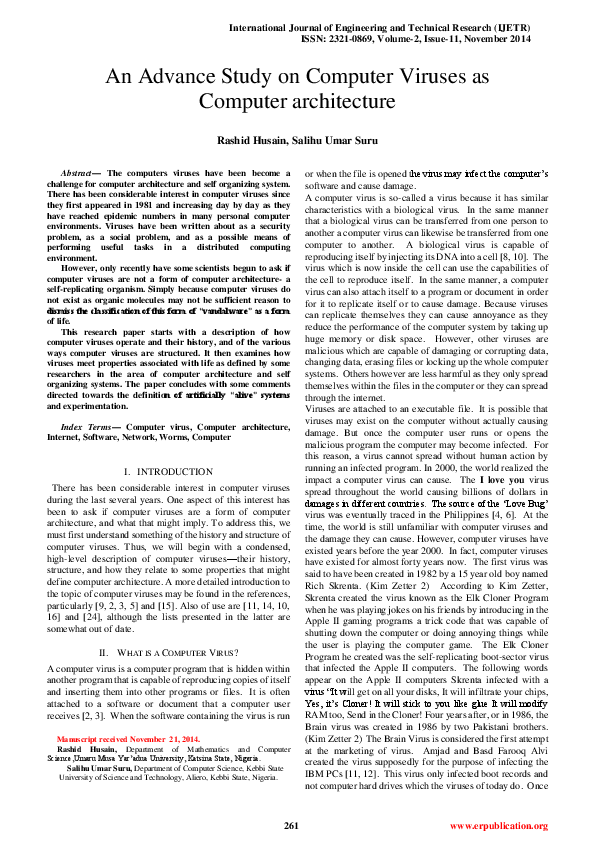 PDF) An Advance Study on Computer Viruses as Computer