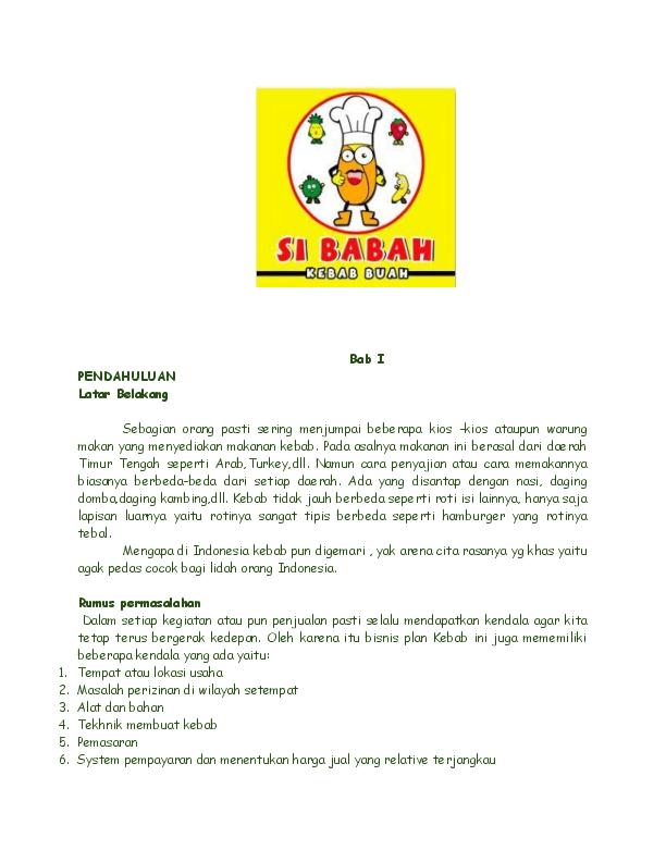 Doc Bisnis Plan Kebab Buah Ari Sulistyono Iii Academia Edu