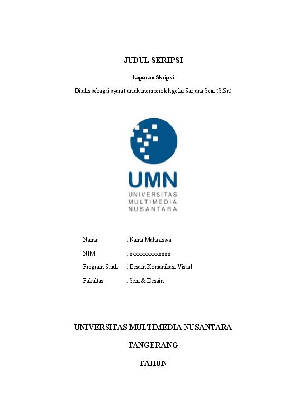 Doc Judul Skripsi Universitas Multimedia Nusantara Tangerang