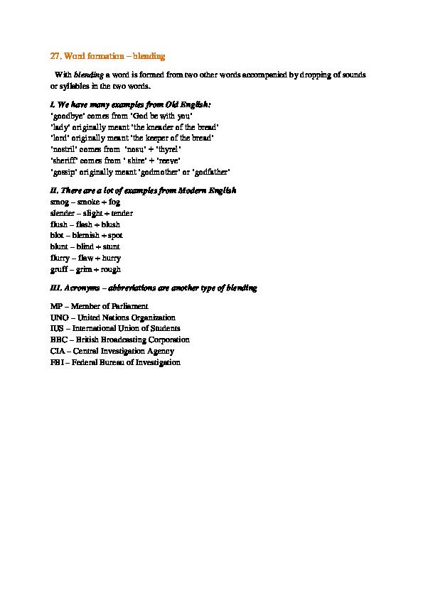 DOC) 27  Word formation - blending | Stoyan Todorov