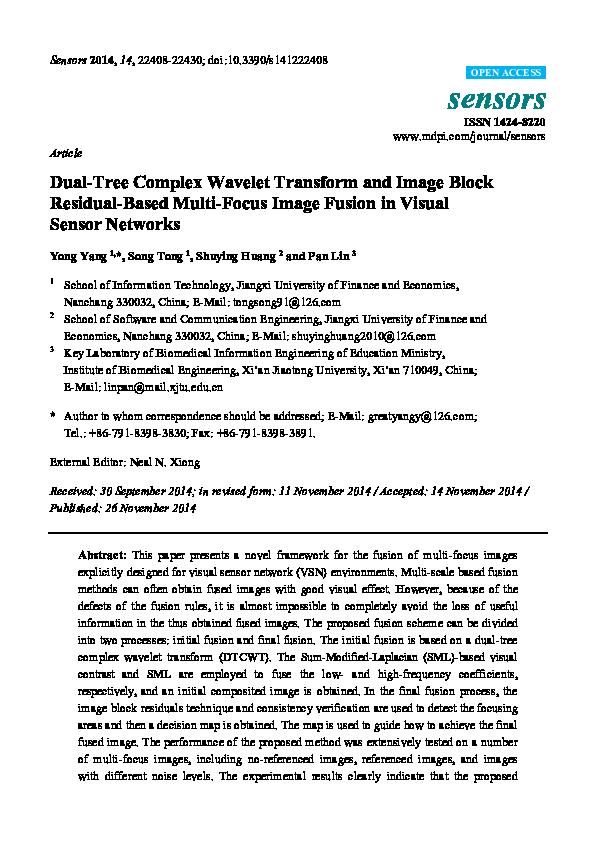 PDF) Dual-Tree Complex Wavelet Transform and Image Block
