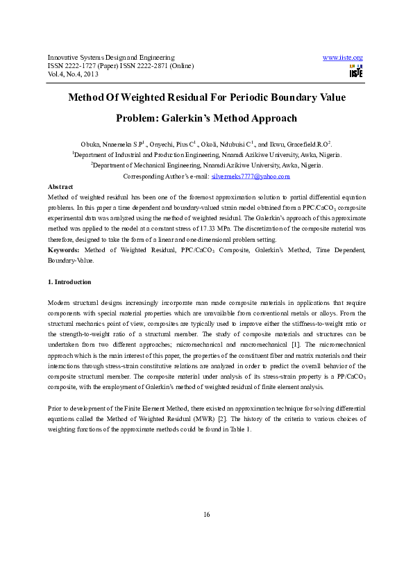 PDF) Method of weighted residual for Periodic boundary value problem