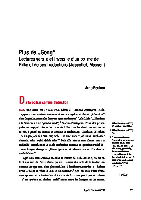 Plus De Gong Lectures Versées Et Inversées Dun Poème De