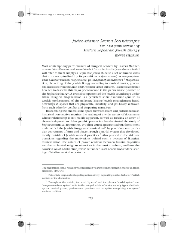 PDF) Judeo-Islamic sacred soundscapes: The maqamization of the