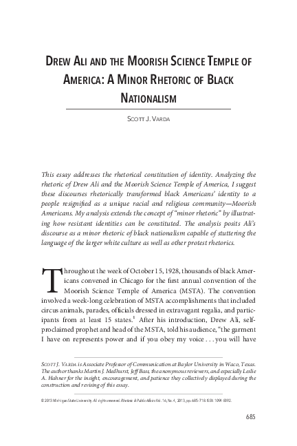 PDF) Drew Ali and the Moorish Science Temple of America: A