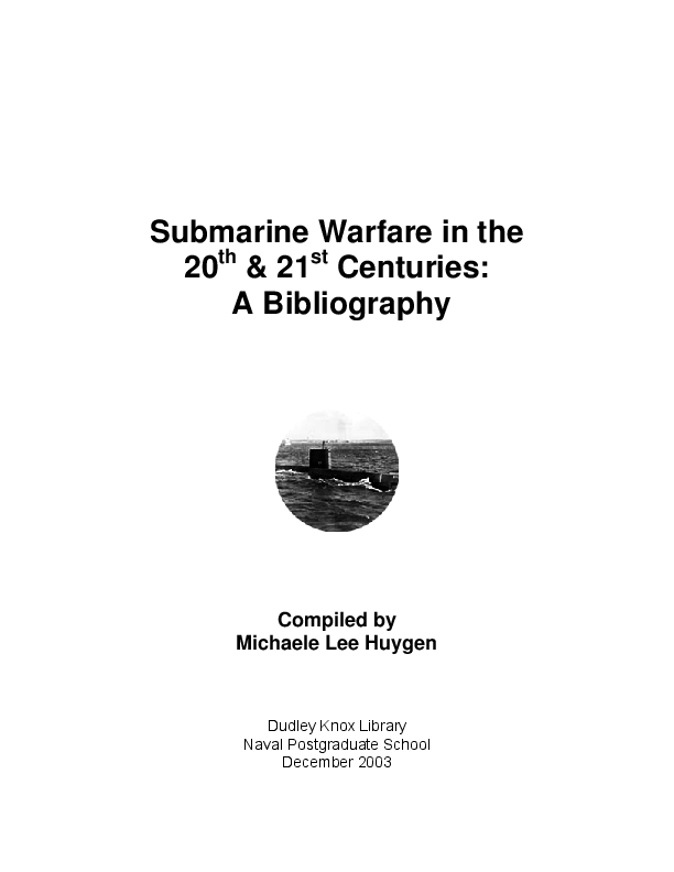 PDF) Submarine Warfare in the 20th & 21st Centuries: A Bibliography