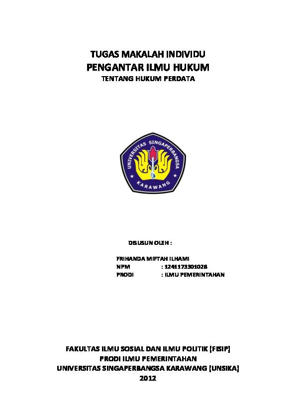 Doc Tugas Makalah Individu Pengantar Ilmu Hukum Fakultas Ilmu Sosial Dan Ilmu Politik Fisip Prodi Ilmu Pemerintahan Universitas Singaperbangsa Karawang Unsika 2012 Jarsat Maulana Academia Edu