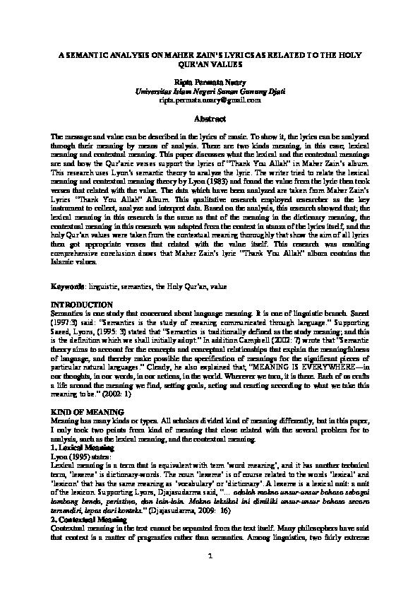 DOC) A SEMANTIC ANALYSIS ON MAHER ZAIN'S LYRICS AS RELATED