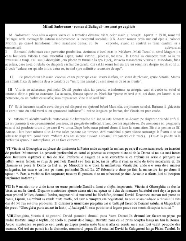 Doc Mihail Sadoveanu Romanul Baltagul Rezumat Pe Capitole