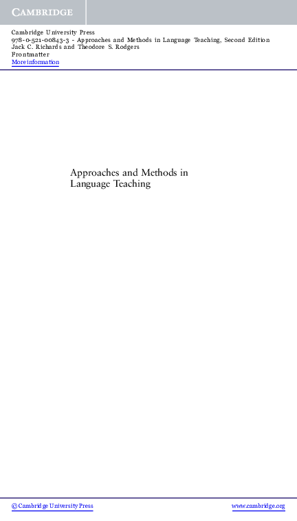 Approaches And Methods In Language Teaching Second Edition Pdf