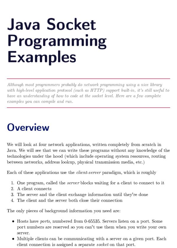 PDF) Java Socket Programming Examples | Luu Bui - Academia edu