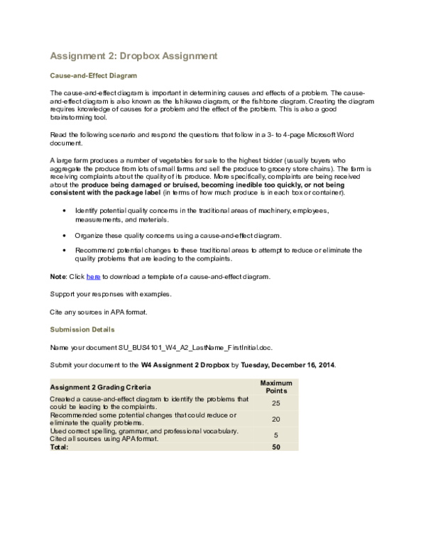 Doc Assignment 2 Dropbox Assignment Cause And Effect Diagram Maina Kairong E Academia Edu