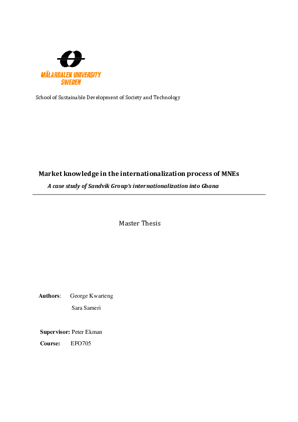 PDF) Market knowledge in the internationalization process of MNEs A