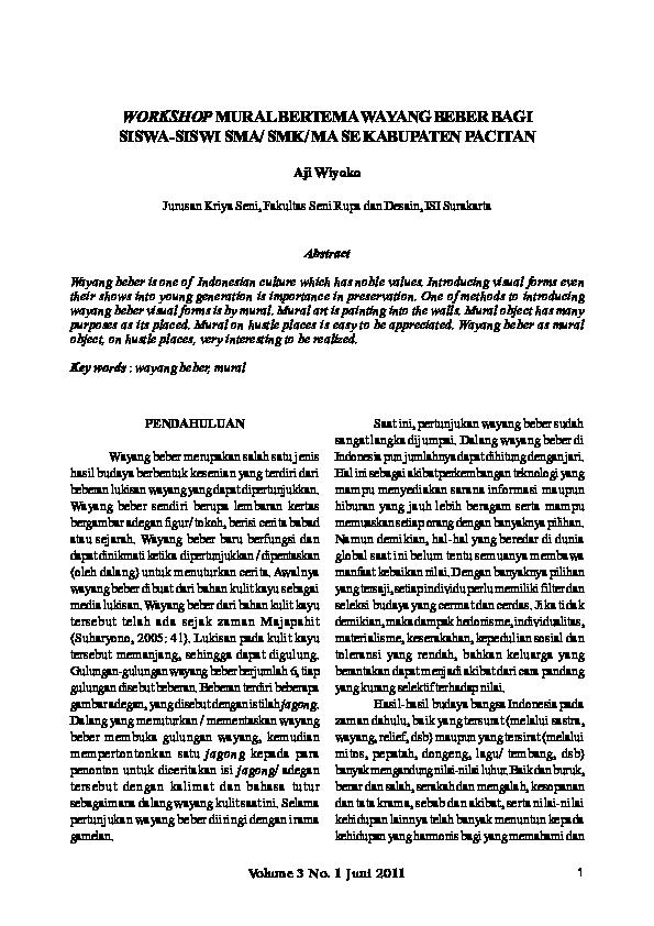 Pdf Aji Wiyoko Workshop Mural Bertema Wayang Beber Bagi Siswa Siswi Sma Smk Ma Se Kabupaten Pacitan Workshop Mural Bertemawayang Beber Bagi Siswa Siswi Sma Smk Ma Se Kabupaten Pacitan Wahyu Pramana