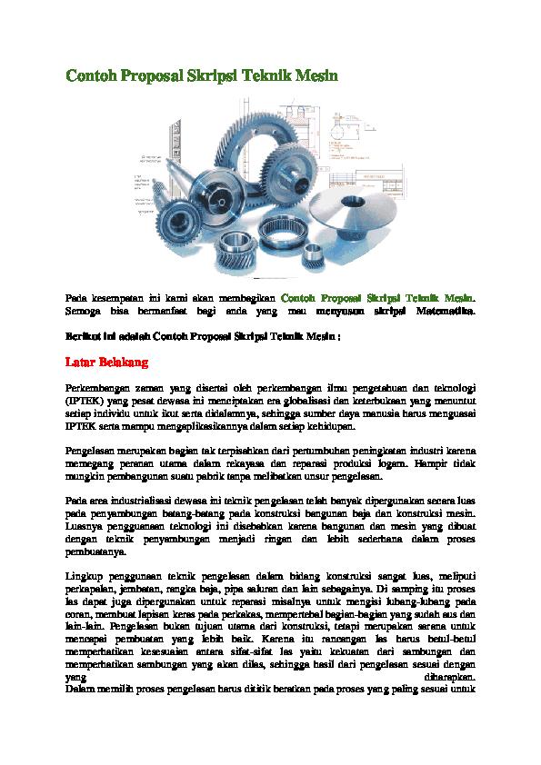 Doc Contoh Proposal Skripsi Teknik Mesin Yusuf Setiawan Academia Edu