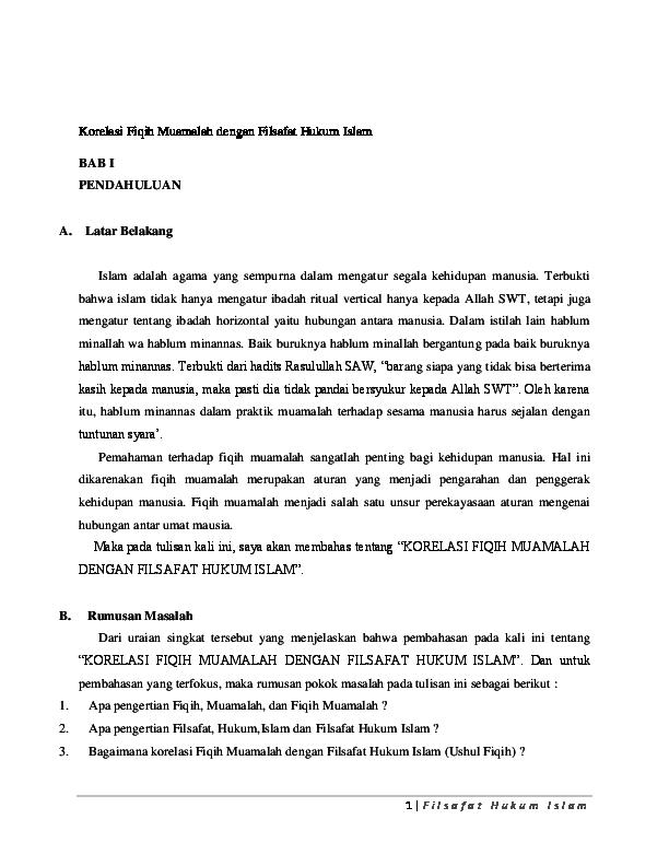 Doc Korelasi Fiqih Muamalah Dengan Filsafat Hukum Islam Umam Umam Academia Edu