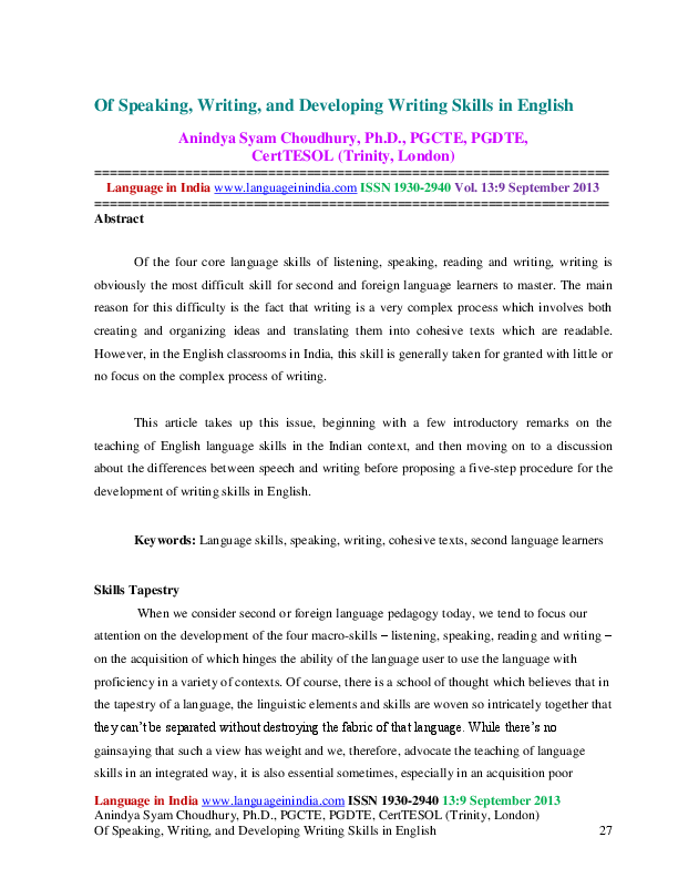 English Speaking Skills Pdf