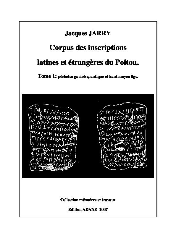 Corpus Des Inscriptions Latines Et étrangères Du Poitou Périodes