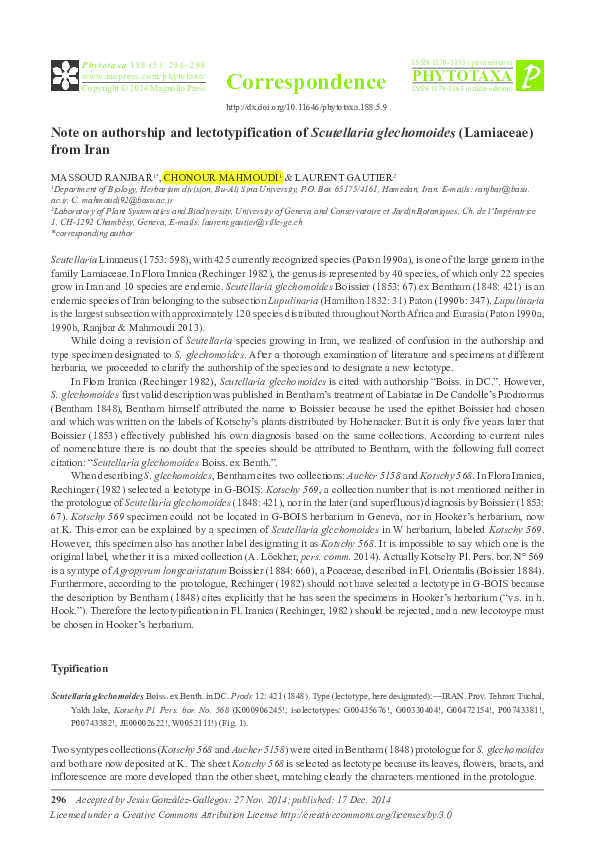 PDF) Note on authorship and lectotypification of Scutellaria