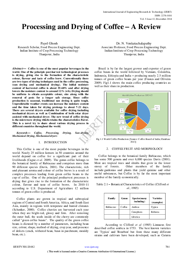 Processing and Drying of Coffee - A review | Payel Ghosh - Academia edu
