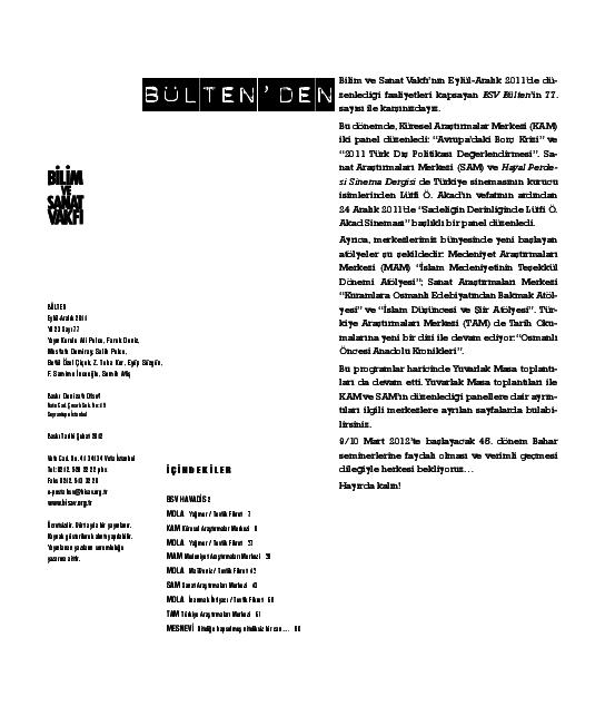 Pdf Bulten 77 Eylul Aralik 2011 Bilim Ve Sanat Vakfi Bisav