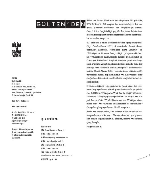 Pdf Bulten 75 Ocak Nisan 2011 Bilim Ve Sanat Vakfi Bisav