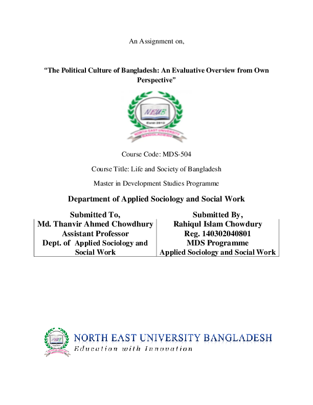 PDF) The Political Culture of Bangladesh: An evaluative