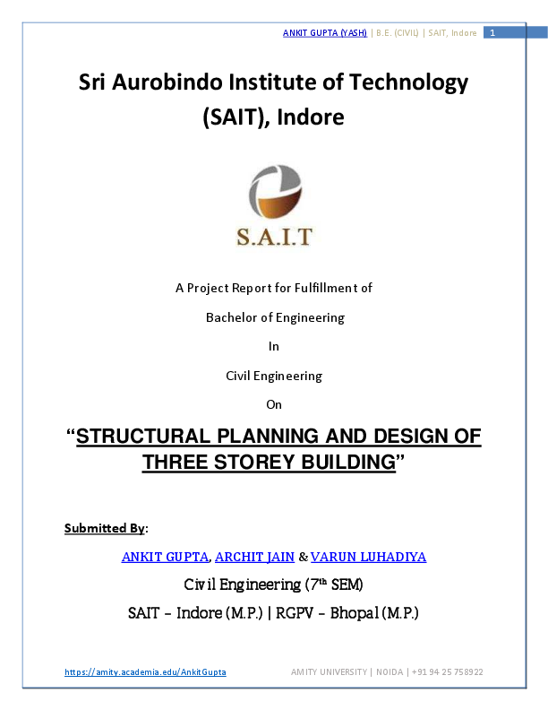 PDF) Structural planning and design of Three Storey Building | Ankit