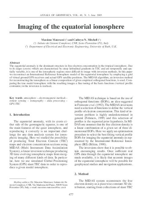 Fg Group Materassi.Pdf Imaging Of The Equatorial Ionosphere Massimo Materassi