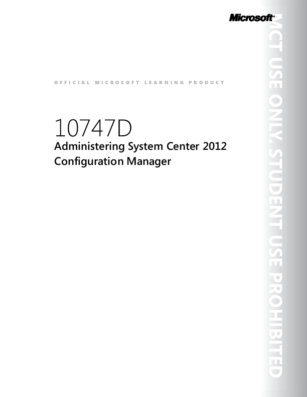 PDF) 10747DTrainer File - Administering System Center 2012