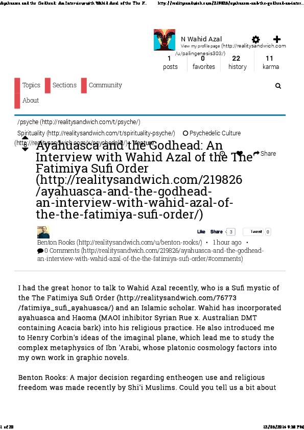 PDF) Ayahuasca and the Godhead: An Interview with Wahid Azal