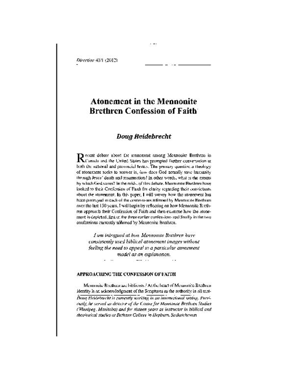 PDF) Atonement in the Mennonite Brethren Confession of Faith